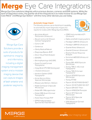 Merge Eye Care Integrations Datasheet